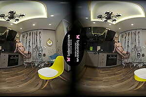 Solo babe, Candy Red masturbates in the kitchen, in VR