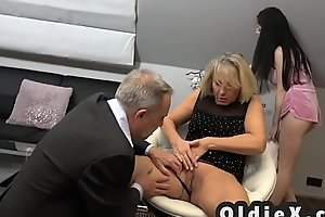 Beautiful young maid fucks rich senior couple in threesome