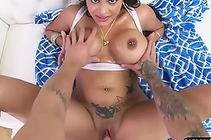 Busty latina babe gets her ass creampied POV
