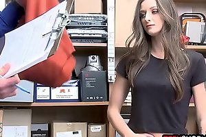 Pretty brunette teen caught shoplifting by a mall cop