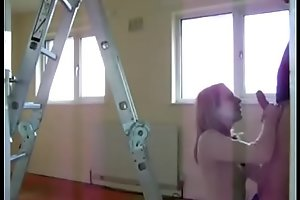 pervert dad makes his daughter suck and fuck him at work