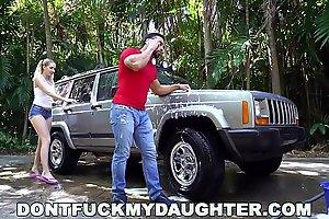 DON'T FUCK MY DAUGHTER - Naughty Teen Sierra Nicole Fucks Carwash Man