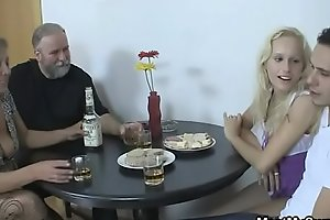 His parents and girlfriend get it on