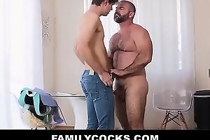 Ripped Daddy Bear Enjoys Filling His Stepson With Cum - FAMILYCOCKSXXX PORN VIDEO