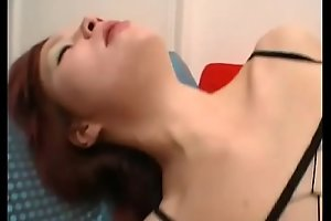 Young redhead girl banged by two horny dicks