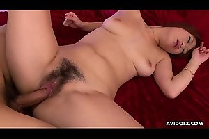 Maki Otoha takes it up her hairy twat from behind
