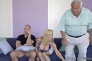 Huge meatballs stepmom helps guy with boner