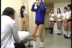 Subtitled CMNF Japanese schoolgirls group medical check-up