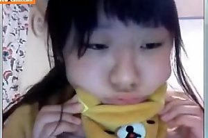 Asian university student with large love melons on livecam