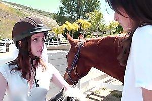 Juicy young crunchies Ally Evans, Kara Precept enjoy their classes on tap Lesbian Riding Crammer