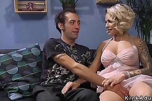 Tranny in see through dress fucks guy