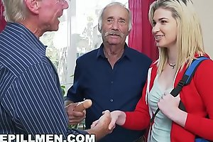 Despondent PILL MEN - Youthful Stacie Gets Practiced By Yoke Horny Venerable Men