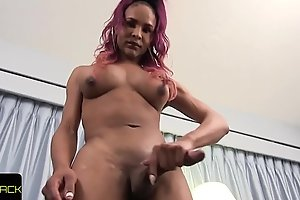 Bigtitted solo tranny stroking effectively black cock