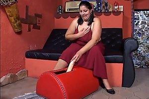 Fat horny girl masturbating then fucks a stranger