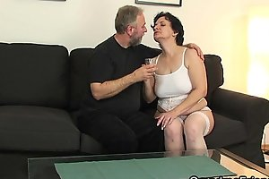 Hot threesome with old lady in white lingerie