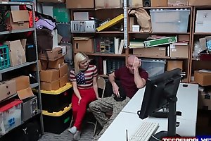 Gf blonde Madison Hart has to fuck security guard in front of bf