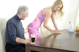 Polina could not help but moan as this old goes young guy licked her nipples and sucked her tits. He mad her very wet and made her want him badly.