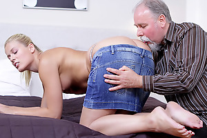 Elena can't believe how good this old man is at having sex. He licked her pussy so good she just has to suck his cock before she lets him hammer her wet and anxious twat!