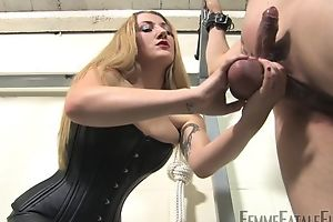 Blonde-haired mistress humiliates her personal slaveboy