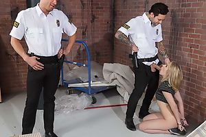 Amazing chick gets fucked hard by two horny cops
