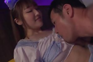 Lovely Japanese girl takes care of guy's pecker and makes him cum
