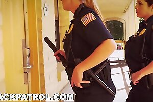 BLACK PATROL - Uninspired Cops With Big Tits Riding Big Black Load of shit On An obstacle Job