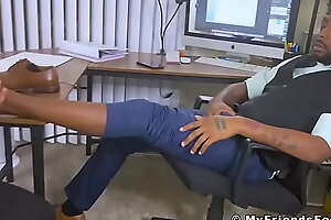 Bearded August masturbates his BBC while being foot licked