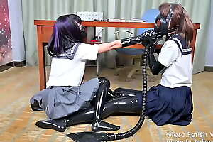 Latex JK lesbian king game and air contral femdom part 2